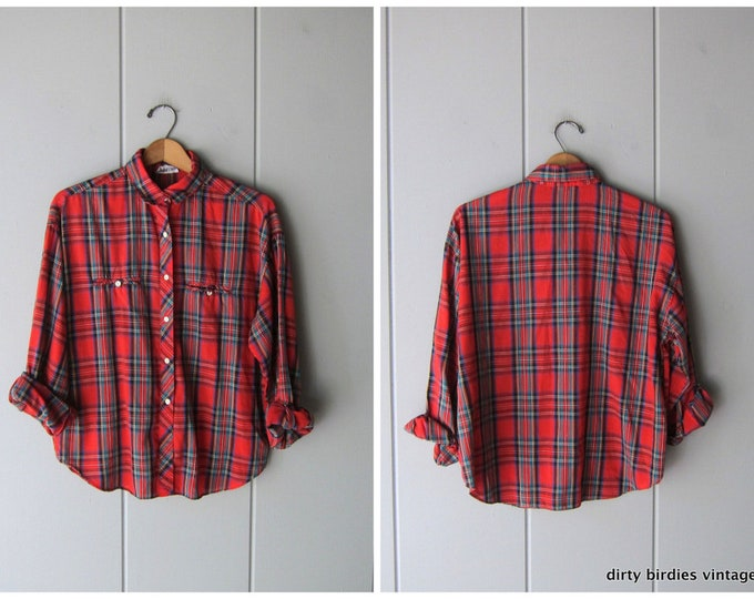Red 80s Plaid Button Up - Large