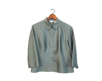 9a6b319142b8b6 Minimal Silk Blouse 90s Sage Green Silk Tee Vintage Basic Silk Top Boxy  Modern Casual Blouse Vintage Womens Size Medium