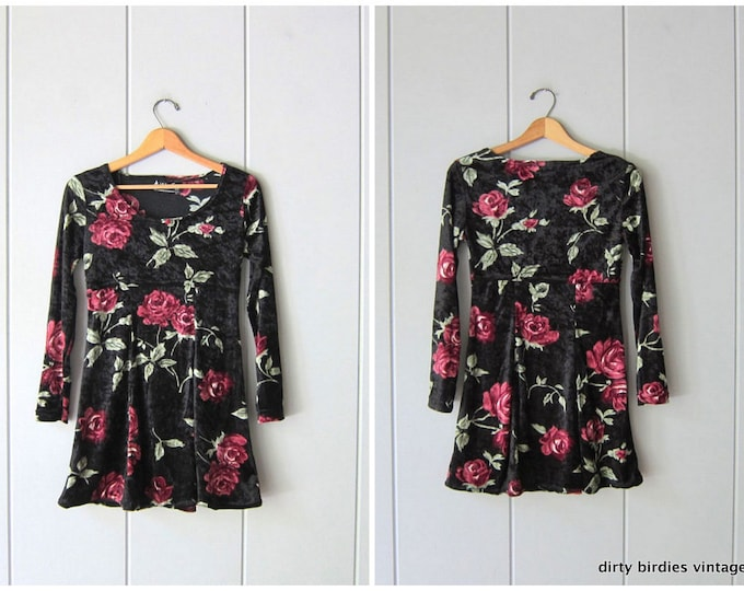 90s Velvet Floral Dress - XS Small