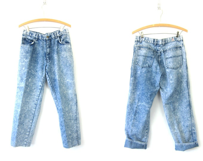 1980s High Waist Acid Wash Jeans Blue Denim Retro Mom Jeans Vintage Hipster 80s Grunge Street Punk Womens Size 31 x 27