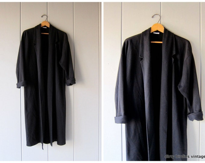 Long Black Cardigan Sweater 80s Maxi Sweater Modern Cotton Knit Duster Slouchy Minimal Open Fall Sweater with Pockets Womens Small Medium