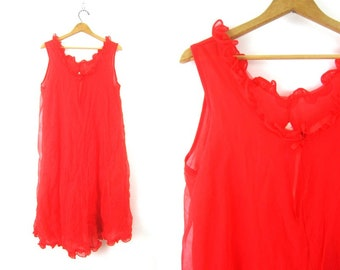 535fb833aa72 1960s red Slip Vintage slip dress Sexy Ruffle lingerie Nightgown Nightie  Long Night Gown Hollywood Boudoir Womens Plus size 2X