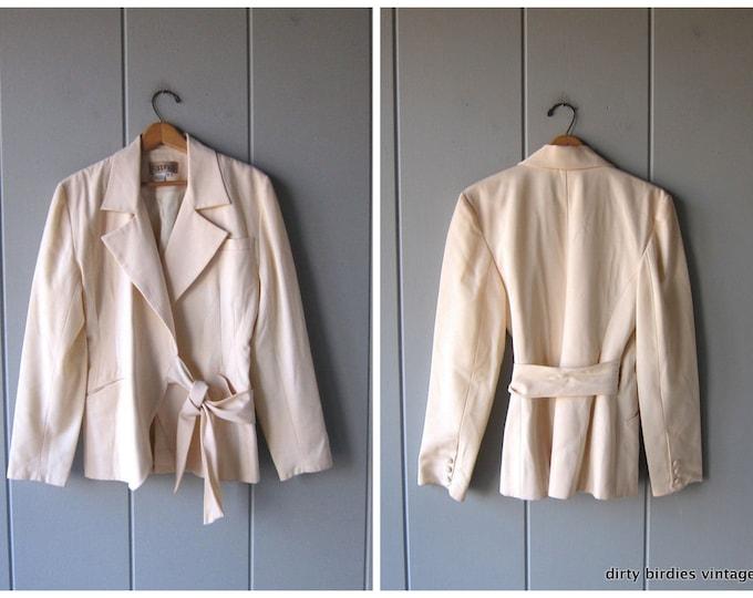 White Wool Blazer Jacket Wrap Tie Suit Jacket Minimal Wool Coat Vintage Womens Modern Workwear Jacket Womens 14