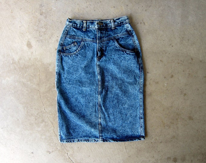 80s Acid Wash Jean Skirt - XS