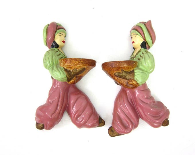 Arabian Man & Woman Chalkware vintage Mid Century Pair Wall Hangings Home Chalk Decor Figurines Harem Pants Turbans