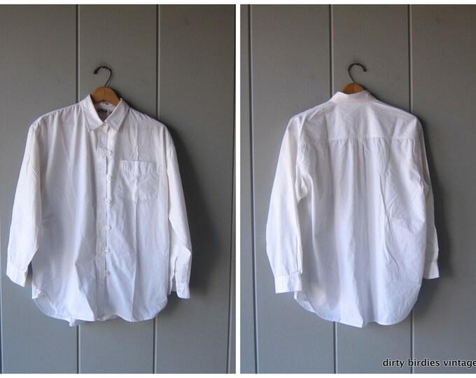 White Cotton Button Up 80s Kimono Button Down Shirt Vintage Oversized Minimal Slouchy Top Womens Medium Large