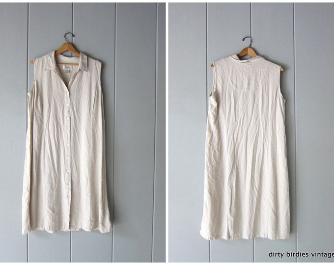 Minimal Linen Rayon Dress - XL Large