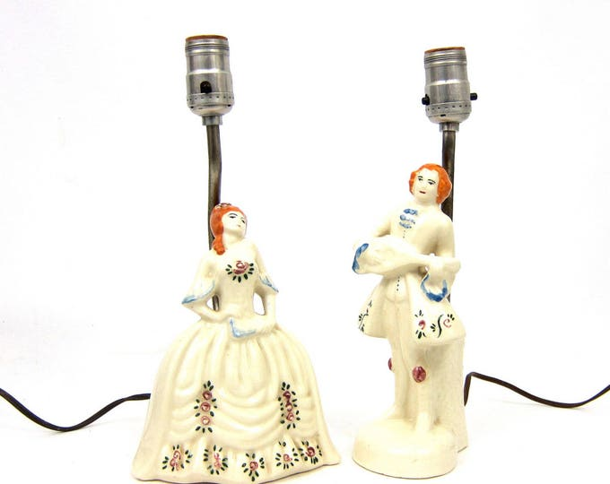 Pair of Figural Lamps Small side table lamps Vintage Set of White Desk Lamps Accents Hollywood Regency Home Decor Victorian Man Woman Lamps
