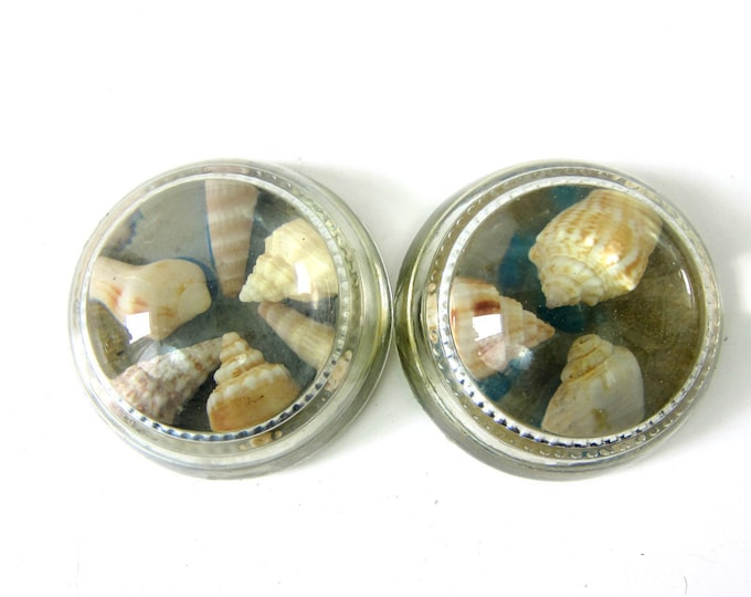 2 vintage paper weights / Glass nautical Shells paperweights mid century decor Coffee table decor / paper weights with shells Nautical Decor