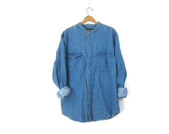 6f08b6304d2 90s Collarless Blue Jean Shirt Denim Shirt Button Up Basic Hipster Shirt  Preppy Normcore Boyfriend Shirt Vintage Mens size XL Tall