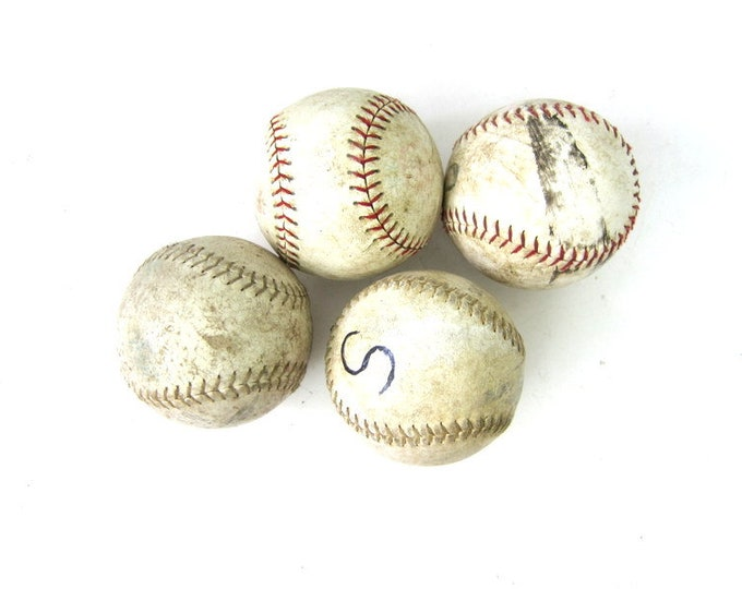 collection of old softballs Set of 4 beat up distressed leather balls Sports Room Den Decor