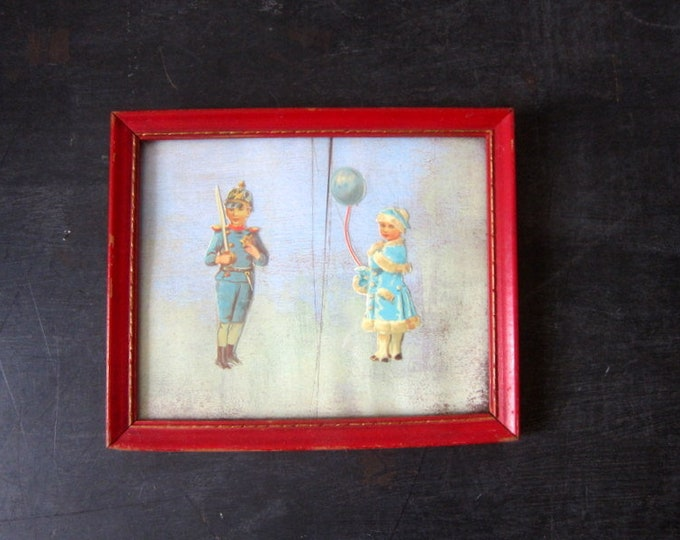 Vintage Framed Artwork Soldier Boy and Girl with Balloon Picture Collage Antique Red Wooden Frame