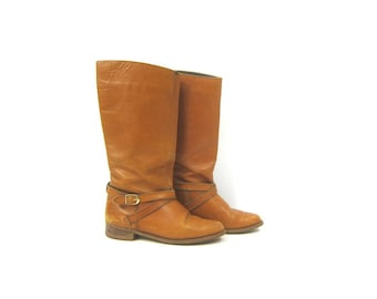 6bdd3931b5fd 70s Leather Campus Boots Tall Leather Boots Motorcycle Cowboy Boots Vintage  Western Pull Up Fashion Boots Women s Size 7.5