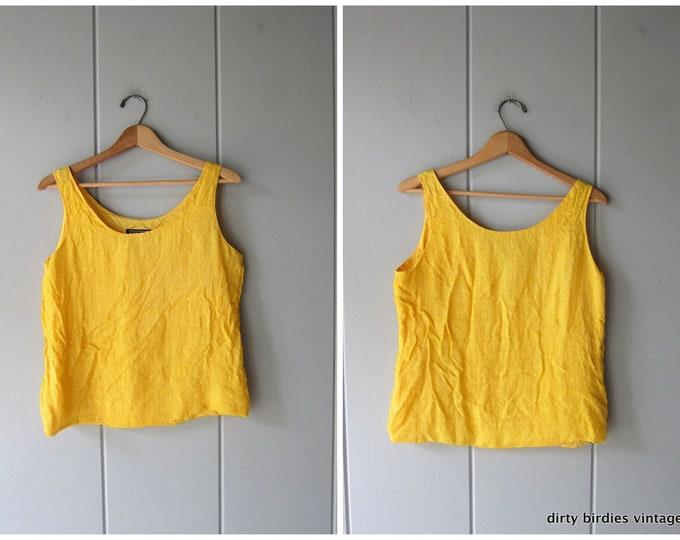Woven Yellow Silk Tank - Small