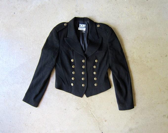Black Wool Military Jacket / 90s DKNY