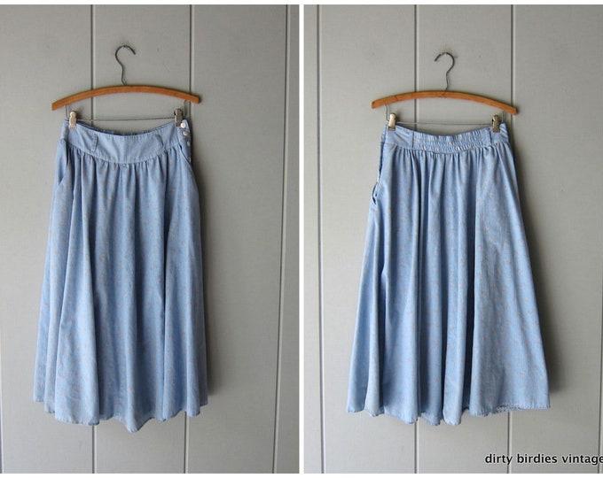 80s Blue Floral Skirt - Medium