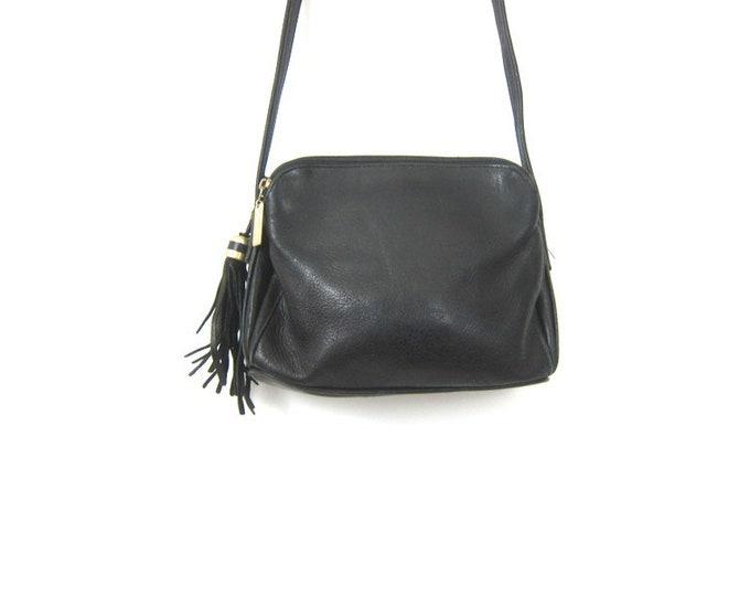 Small Black Leather Purse Vintage Purse Cross Body Purse Modern Minimal Crossbody Bag 90s Black Leather Bag Across Body Purse