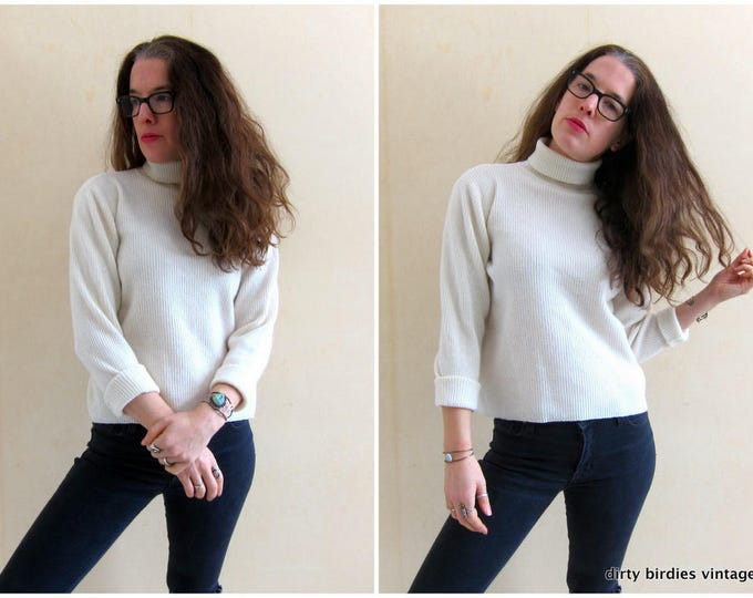 White Wool Sweater Vintage 90s Boxy Ribbed Top Minimal White Sweater Womens Large