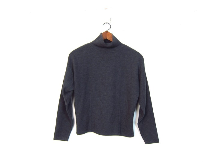 Gray Mock Neck Sweater Rib Knit Cotton Pullover Top Soft Thin Fall Sweater Minimal Boxy Crop Grey Sweater Small
