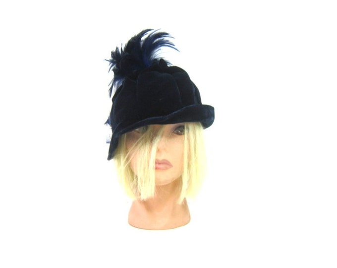 Vintage 1950s Royal Blue Velvet Hat Womens Dress Hat Mid Century Mad Men Fashion Hat with Feathers Size Small