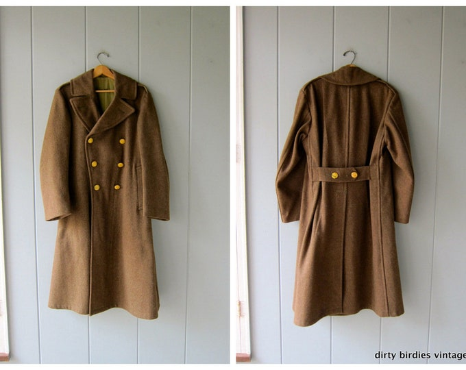 50s Wool Army Trench - 36 R