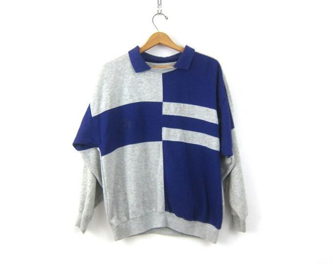 Bold Colorblock Tomboy Sweatshirt 1980s Sweater Purple & Gray Boyfriend Sweatshirt Sports Athletcic Top Hipster Shirt Unisex Size Large