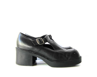 f99aec7c9fe Black Leather Mary Janes Platforms Tstrap Buckled Sandals Vintage 90s High Heel  Chunky Grunge Punk School Girl Shoes Womens 10
