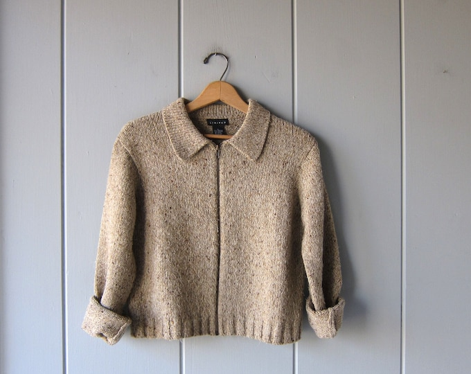90s Brown Speckled Sweater Boxy Zip Up Knit Cardigan Vintage Cropped Sweater Basic Collared Sweater Top Womens Large