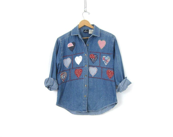 heart Patches Jean Top Denim Collared Oxford Button Up Casual Blue Jean 1990s Boho Grunge Shirt Womens size Medium