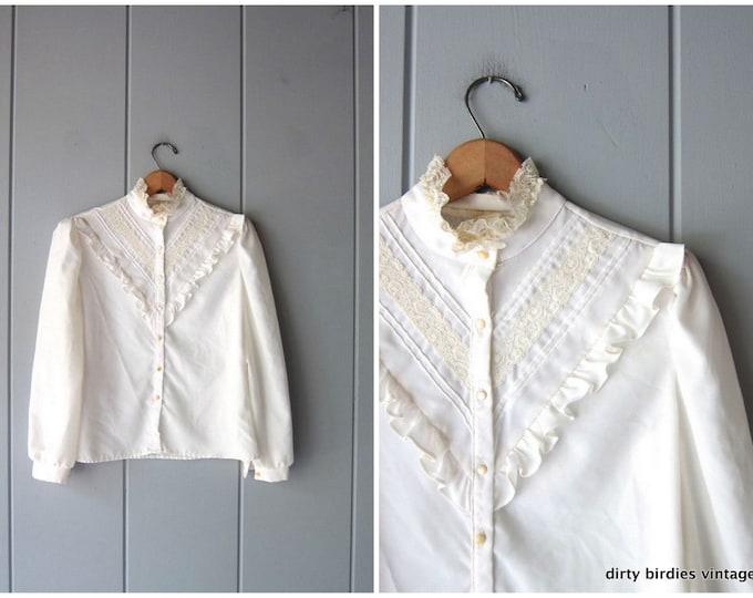 White Ruffled Blouse 70s