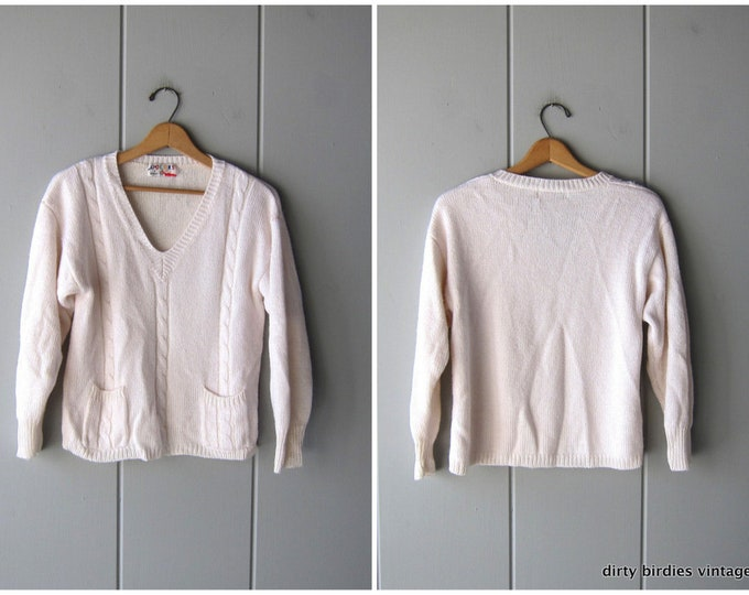 White Sweater Vintage 80s Soft Knit Vneck Sweater with Pockets Cropped Vintage Sweater Womens Medium