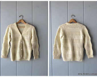 63377e366f Hand Knit 60s Popcorn Cardigan Sweater Button Up Cream Cardigan Vintage  Textured Small Fit Cardi XS Small