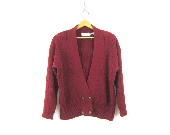 Slouchy Red Knit Cardigan