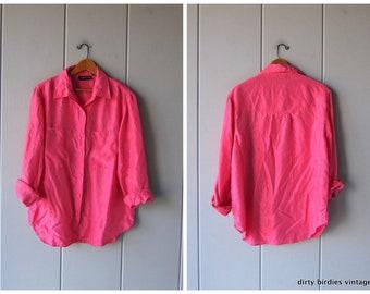 2c6bd6f278f29 90s Silk Blouse Pink Silk Shirt Button Up Pocket Shirt Minimal Long Sleeve  Top Modern Silk Blouse Vintage Womens Medium