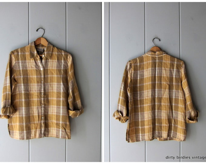 90s Linen Button Up / Earth Tone