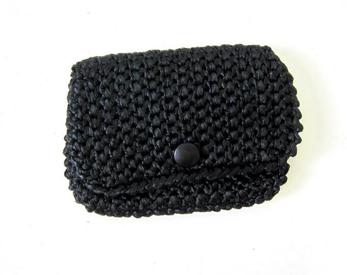 Black Raffia Handbag 1960s Natural Straw Hand Bag Modern Black Clutch Minimal Retro Mid Century Purse Vintage