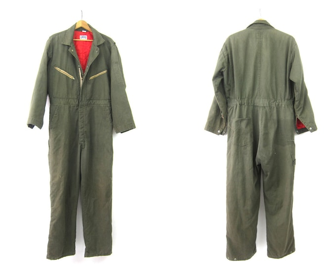 Vintage Overalls Big Smith Insulated Jumpsuit Army Green Farmer Coveralls one piece car Mechanics Workwear Work Pants Size 44