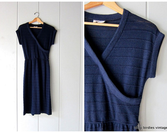 70s Navy Blue Knit Dress S/M
