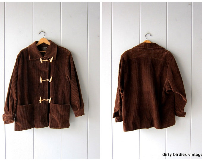 80s Brown Corduroy Coat Vintage 70s Wooden Toggle Winter Coat Chunky Ribbed Barn Coat Womens XL / size 14