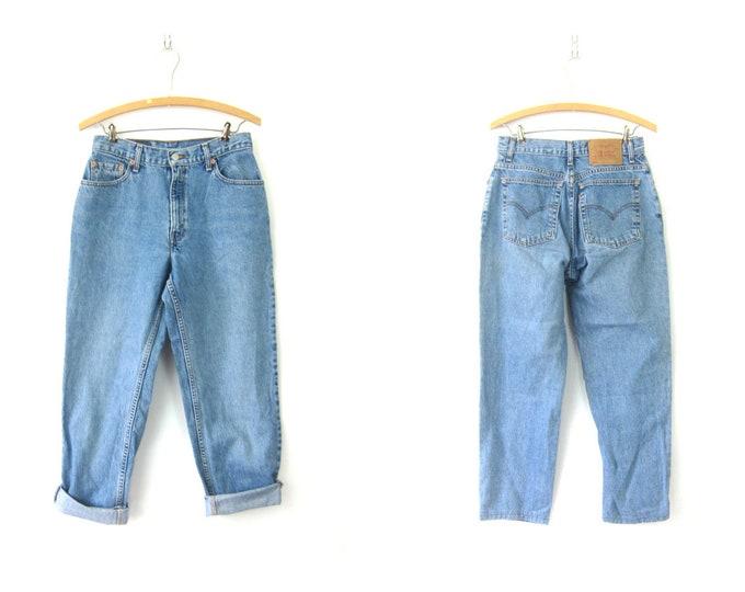 550 LEVIS Jeans Worn In Blue Jeans Faded Denim Boyfriend Jeans Vintage Pants Hipster Grunge Women's Size 8