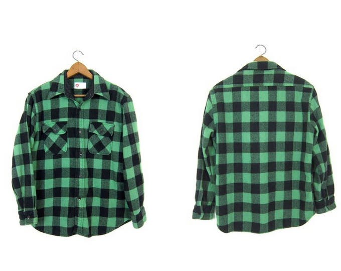 Buffalo Plaid Shirt 60s WOOL Flannel Green Black Lumberjack Shirt Button Up Long Sleeve Wool Hunting Shirt Grunge Vintage Mens Medium Large