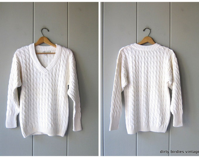 White Knit Sweater - Medium