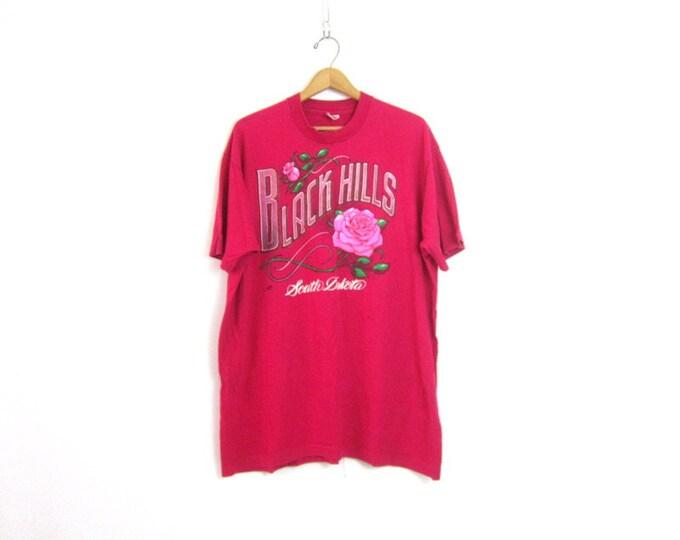 Pink Black Hills South Dakota ROSE Tshirt Cotton Resort Wear X Long Tourist Shirt Basic Travel Souvenir Tee Shirt Size XXL 2XL