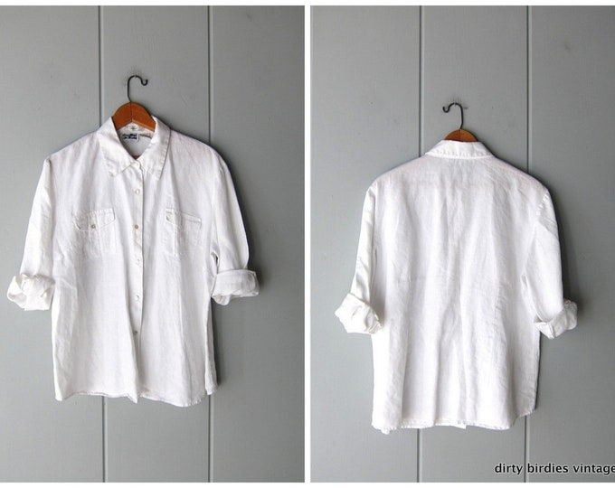 Linen Button Up Top - Large