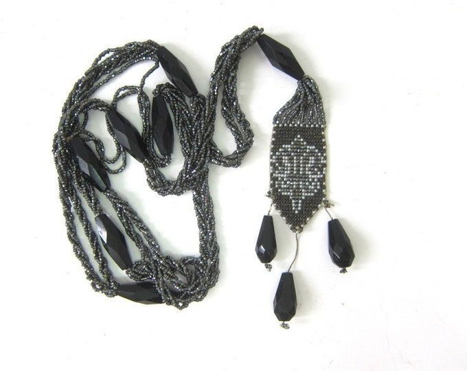 Black Vintage Glass Seed Bead Rope Necklace Flapper Necklace Long Beaded Art Deco Necklace Black and Gray Women's Jewelry