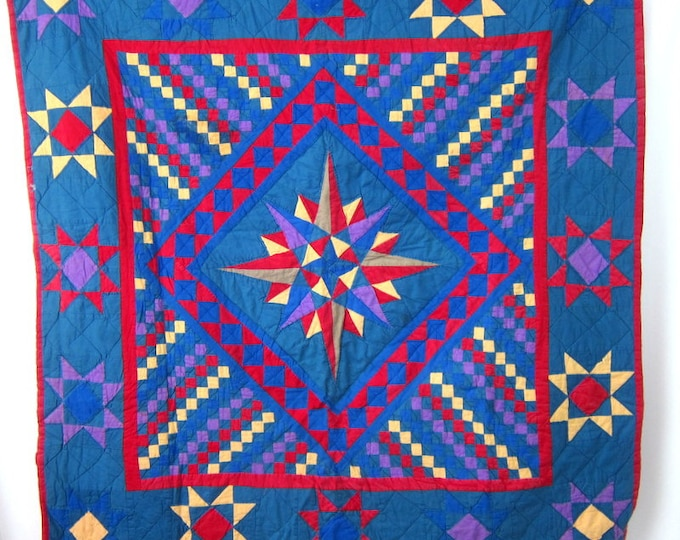 Vintage Hand Pieced quilt Small Red and Blue STAR blanket Small Lap Blanket Vintage Quilt Folk Art