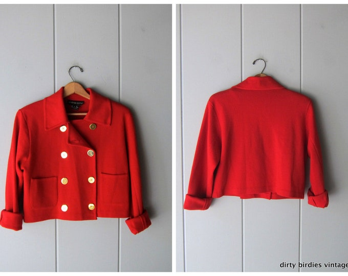 Red Wool Knit Bomber