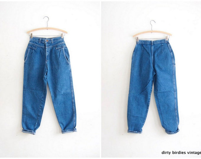 """80s LEE Blue Jeans High Waist Denim Jeans Tapered Mom Jeans Hipster Streetwear Casual Preppy Hip Hop Pants Womens Waist 24"""""""