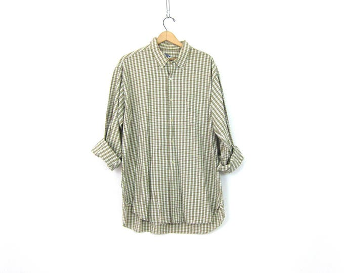 Simple Plaid Collar Shirt Button Up Vintage Cotton Oxford Top Long Sleeve Gender Neutral Preppy Pilgrim Shirt Unisex Size XL