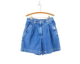 waist 24\u201d High Waist Creamy Yellow Pastel High Rise Mom Shorts Vintage 90s High Waisted Shorts Pleated Shorts